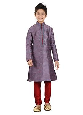 Violet Art Silk Kids Kurta Pyjama