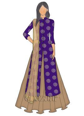 Violet Art Silk Long Choli Lehenga