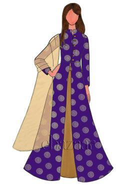 Violet Art Silk Long Choli Lehenga Set