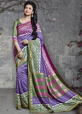 Divyanka Tripathi Violet Art Silk Saree