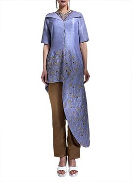 Violet Art Silk Straight Pant Set