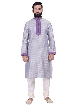 Violet Benarasi Cotton Silk Kurta Pyjama