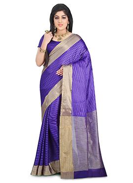 Violet Benarasi Pure Silk Saree