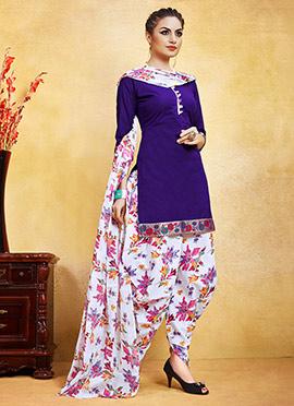 Violet Blended Cotton Salwar Suit