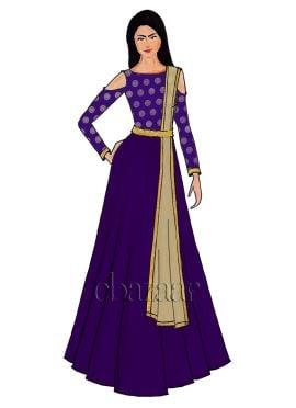 Violet Cold Shoulder Art Silk Abaya Set