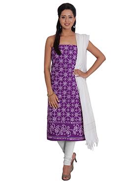 Violet Cotton Churidar Suit