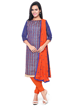 Violet Cotton Embroidered Churidar Suit