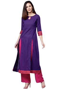 Violet Cotton Palazzo Suit