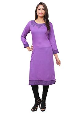 Violet Cotton Rayon Kurti