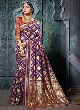 Violet Cotton Silk Saree