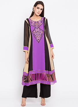 Violet Embroidered Kurti