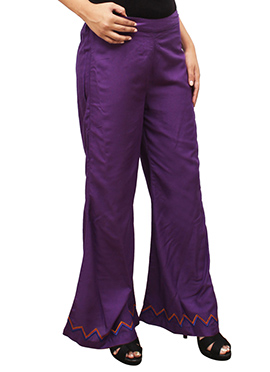 Violet Embroidered Palazzo Pant