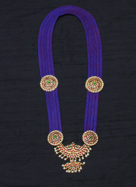 Violet Flawless Polki N Pearls Studded Necklace
