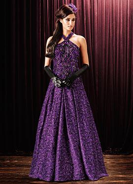 Violet Foliage Patterned Anarkali Gown