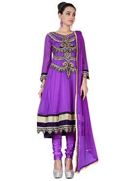 Violet Georgette Anarkali Suit