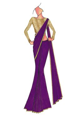 Violet Georgette Saree With Gold Beige Blouse