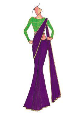 Violet Georgette saree with Green Mogra Silk Blous