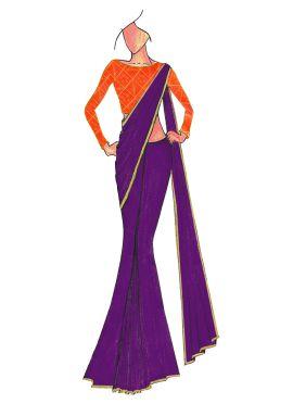 Violet Georgette saree with Orange Mogra Silk Blouse