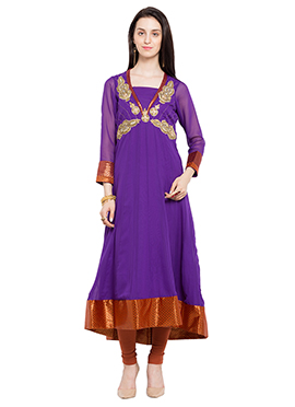 Violet Hand Embroidered Anarkali Kurti