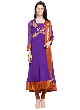 Violet Hand Embroidered Anarkali Suit