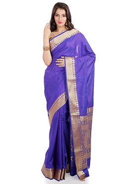 Violet Kancheepuram Art Silk Saree
