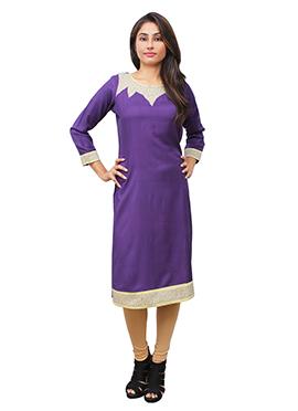 Violet N Cream Cotton Rayon Kurti