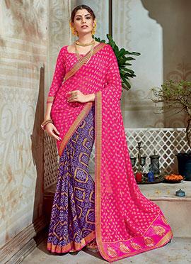 Violet N Dark Pink Bandhini Printed Half N Half Saree