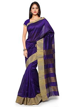 Violet N Gold Blended Cotton Saree