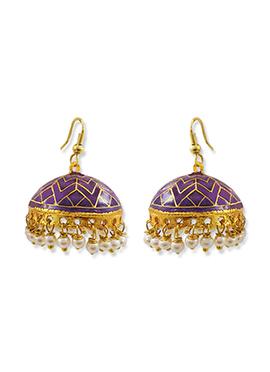 Violet N Gold Color Pearl Studded Jhumkas