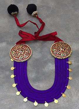Violet N Maroon Polki N Pearls Studded Necklace