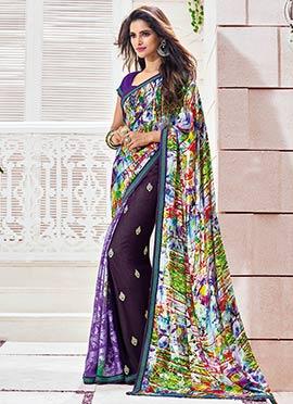 Violet N Multicolored Printed Saree