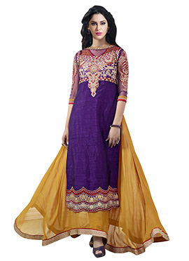 Violet N Mustard Layered Ankle Length Anarkali Suit