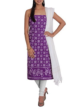 Violet N Off White Cotton Printed Churidar Suit