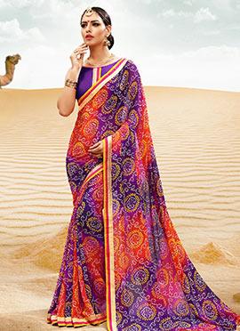 Violet N Orange Georgette Bandhini Saree