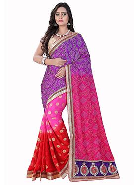 Violet N Pink Half N Half Bandhini Saree