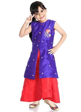 Violet N Red Embroidered Kids Lehenga