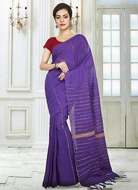 Violet Printed Handloom Saree