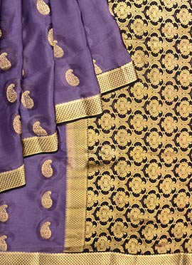 Violet Pure Mysore Silk Saree