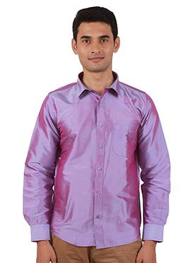 Violet Pure Raw Silk Shirt
