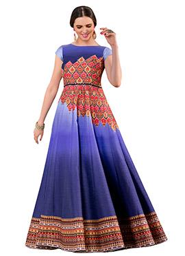 Blue Pure Silk Anarkali Gown
