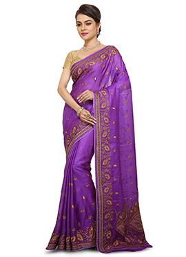 Violet Pure Benarasi Silk Saree