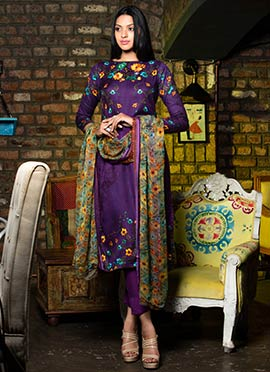 Violet Satin Cotton Straight Pant Suit