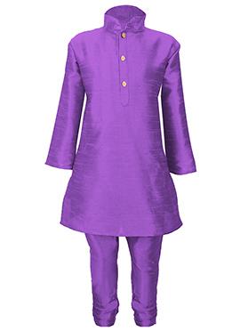 Violet Silk Cotton Kids Kurta Pyjama