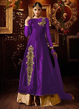 Violet Taffeta Silk Umbrella Lehenga