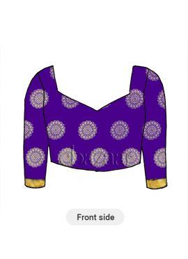 Violet V Neck Art Silk Blouse