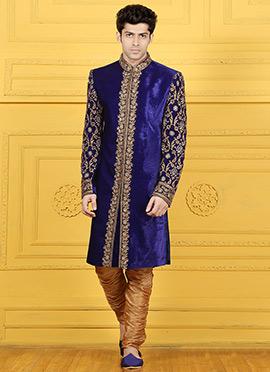 Blue Velvet Chipkan Sherwani