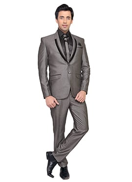 Viscose Grey Lapel Style Suit