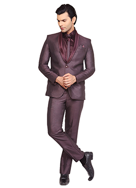 Viscose Wine Lapel Style Suit