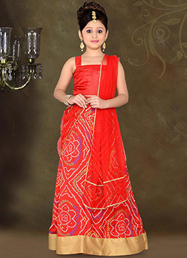 Vivid Red Art Silk Teens Lehenga Choli