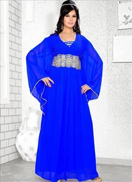Voguish Blue Georgette Fustan